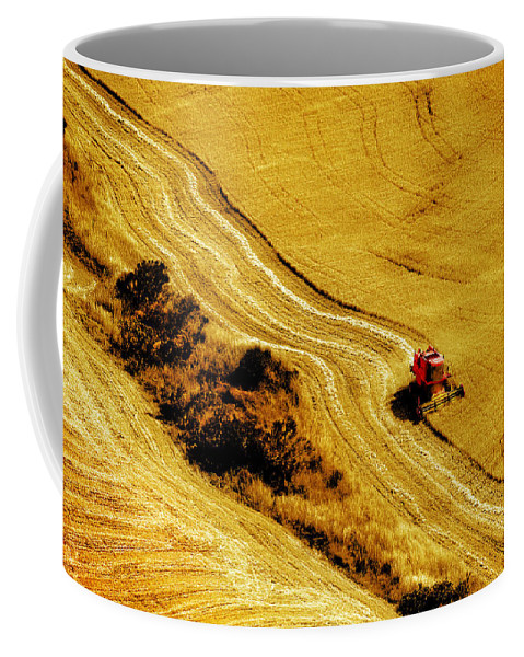 Combine Coffee Mug featuring the photograph Harvesting The Crop by Mal Bray