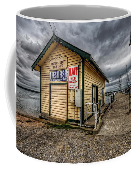 Hastings Coffee Mug featuring the photograph Hastings Jetty by Wayne Sherriff