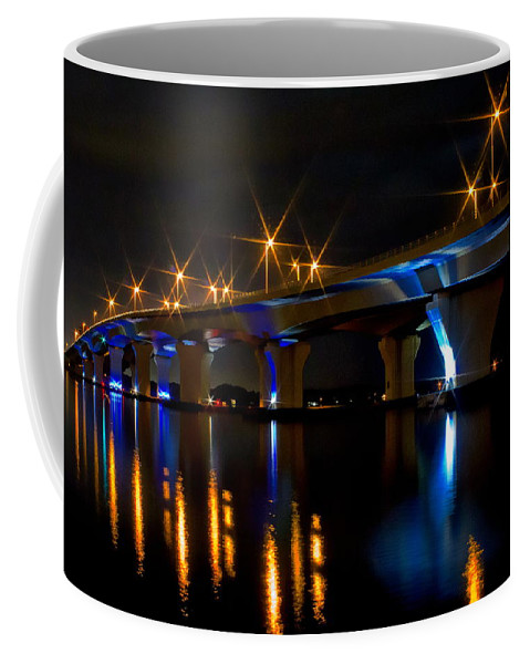Hathaway Bridge Coffee Mug featuring the photograph Hathaway Bridge At Night by Anthony Dezenzio