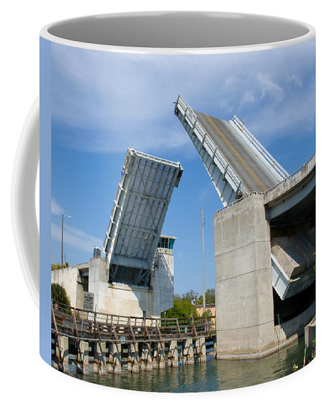Haulover; Haul; Over; Canal; Waterway; Florida; Drawbridge; Draw; Bridge; Open; Swing; Scene; Scener Coffee Mug featuring the photograph Hauover Canal In Florida by Allan Hughes