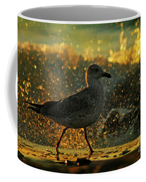 Seagull Coffee Mug featuring the photograph Have A Walk By Th Sea by Angel Ciesniarska