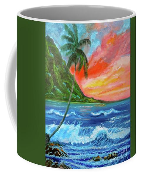 Sunset Coffee Mug featuring the painting Hawaiian Sunset by Jenny Lee