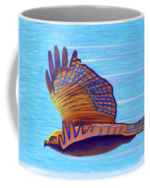 Hawk Coffee Mug featuring the painting Hawk Speed by Brian Commerford
