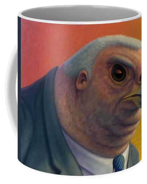 Hawk Coffee Mug featuring the painting Hawkish by James W Johnson