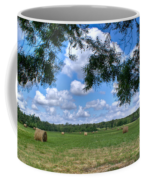Hay Coffee Mug featuring the photograph Hay Field in Summertime by Douglas Barnett