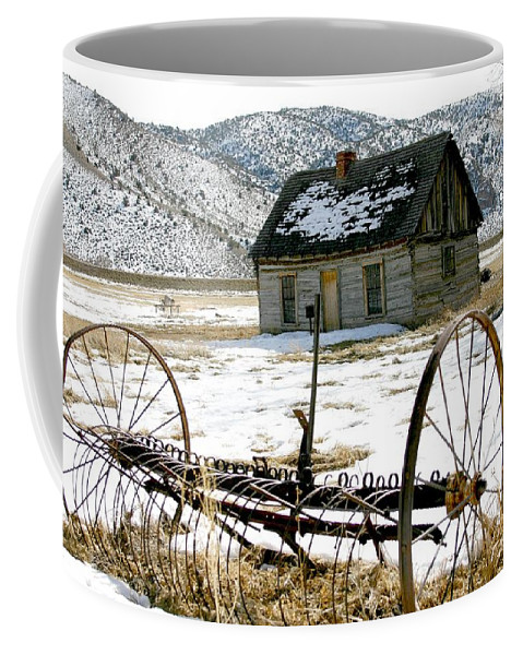 Utah Coffee Mug featuring the photograph Hay Rake At Butch Cassidy by Nelson Strong