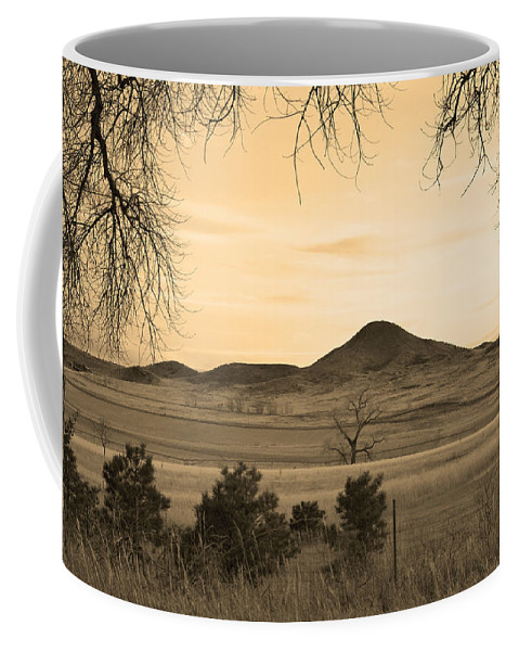 Boulder Coffee Mug featuring the photograph Haystack Mountain - Boulder County Colorado - Sepia Evening by James BO Insogna