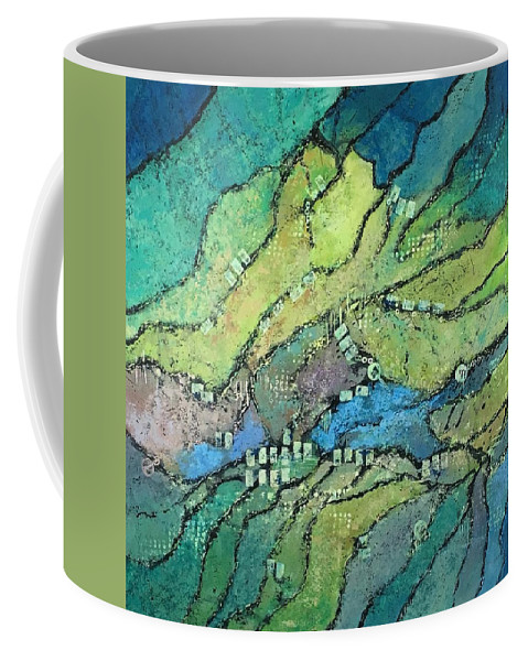 Abstract Landscape Coffee Mug featuring the painting Haystack Mountain by Lloyd Goodwin