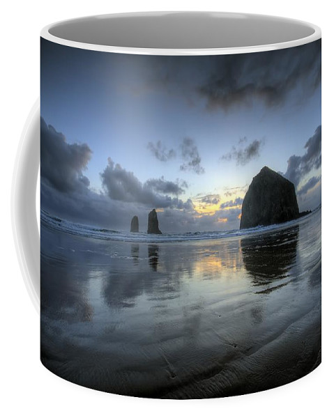Hdr Coffee Mug featuring the photograph Haystacks At Sunset by Brad Granger