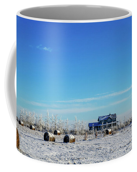 Coffee Mug featuring the photograph Haystacks In The Snow Before The Sunset Date by Viktor Birkus