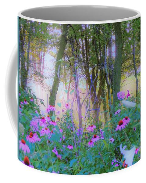 Coneflowers Coffee Mug featuring the photograph Hazy Garden Sunrise by My Rubio Garden