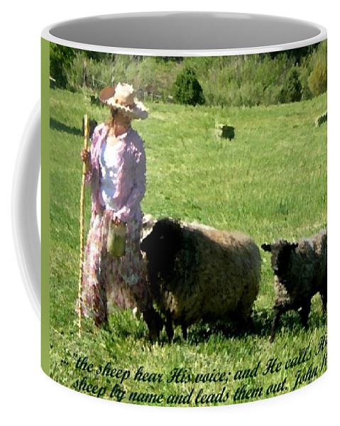 Landscape Coffee Mug featuring the painting He Calls His Own Sheep By Name by Anastasia Savage Ealy