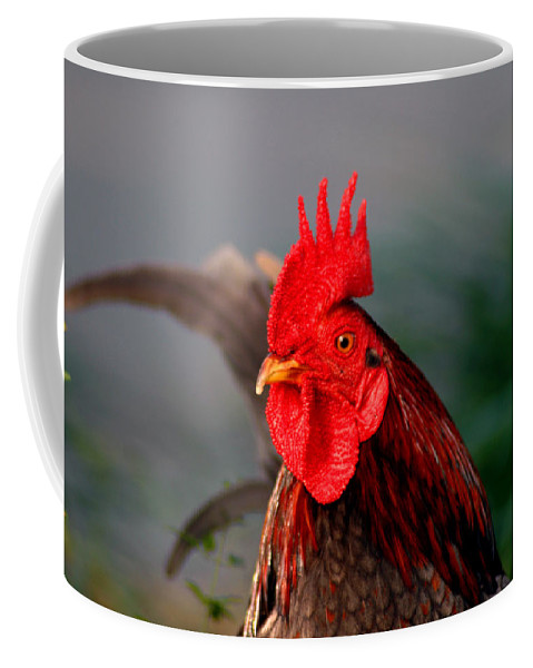 Rooster Coffee Mug featuring the photograph He Is The First In The Morning by Susanne Van Hulst
