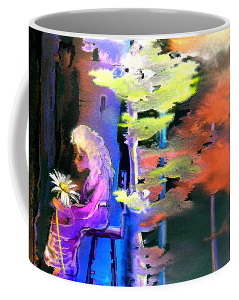 Dream Coffee Mug featuring the painting He Loves Me He Loves Me Not by Miki De Goodaboom