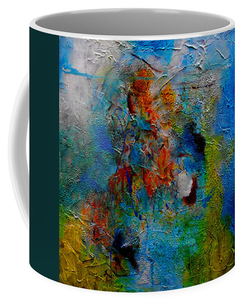 ruth Palmer Abstract Christian Contemporary Color Faith Religion Bible God Jesus Spiritual Texture Coffee Mug featuring the painting He Loves Us Inspite Of Ourselves by Ruth Palmer