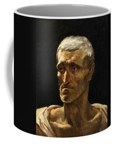 French Art Coffee Mug featuring the painting Head Of A Shipwrecked Man by Theodore Gericault