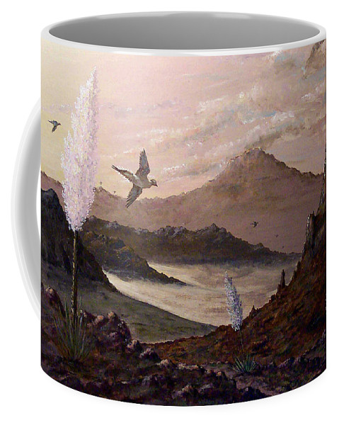 Birds Coffee Mug featuring the painting Heading For Water by Daniel McQuestion