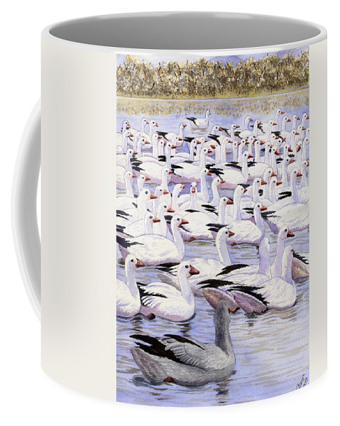 Geese Coffee Mug featuring the painting Heading North by Catherine G McElroy