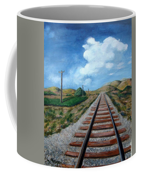 Railroad Tracks Coffee Mug featuring the painting Heading In The Right Direction by Laurie Morgan