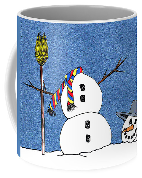 Snowman Coffee Mug featuring the digital art Headless Snowman by Nancy Mueller