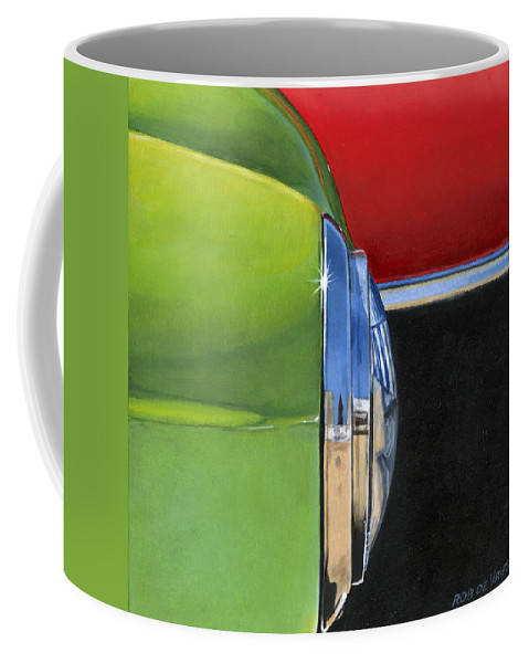 Car Coffee Mug featuring the painting Headlight by Rob De Vries