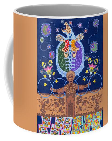 Native American Coffee Mug featuring the painting Healing - nanatawihowin by Chholing Taha