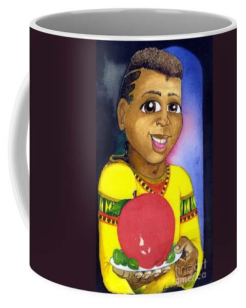 Boy Coffee Mug featuring the mixed media Healthy Eating by David Willis