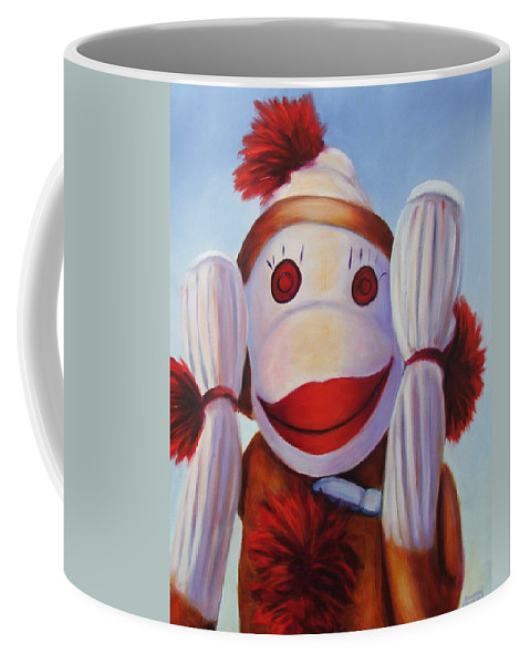 Children Coffee Mug featuring the painting Hear No Bad Stuff by Shannon Grissom