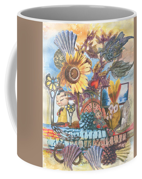Abstract Coffee Mug featuring the painting Heart And Soul by Valerie Meotti