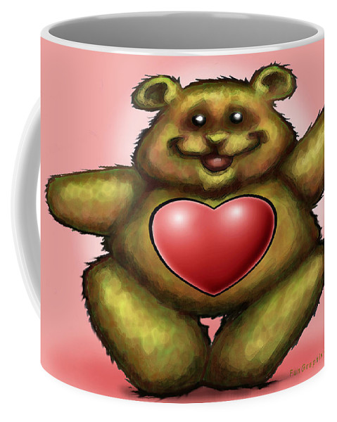 Heart Coffee Mug featuring the greeting card Heart Bear by Kevin Middleton