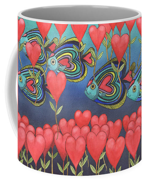 Valentine Coffee Mug featuring the painting Heart fish by Catherine G McElroy