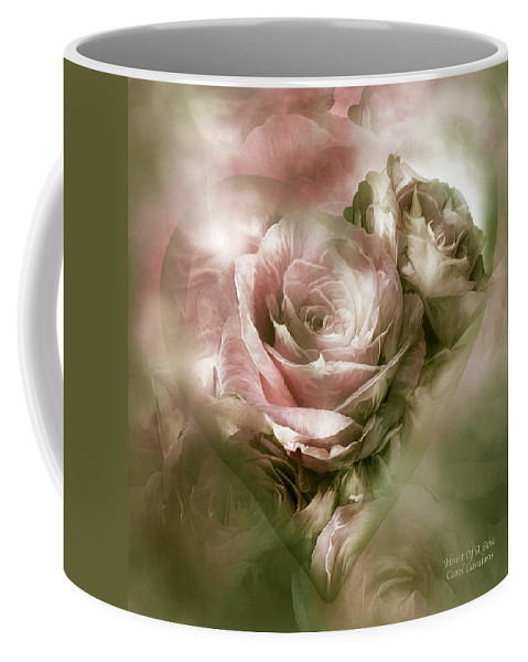 Rose Coffee Mug featuring the mixed media Heart Of A Rose - Antique Pink by Carol Cavalaris