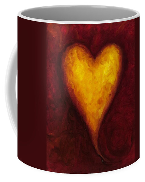Heart Coffee Mug featuring the painting Heart Of Gold 1 by Shannon Grissom