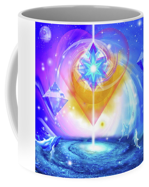 Balance Spirituality Coffee Mug featuring the mixed media Heart Of The Galaxy by Sarah Jeane
