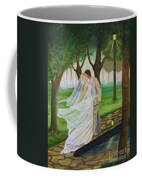 Bride And Groom Coffee Mug featuring the painting Heart To Heart by Kris Crollard