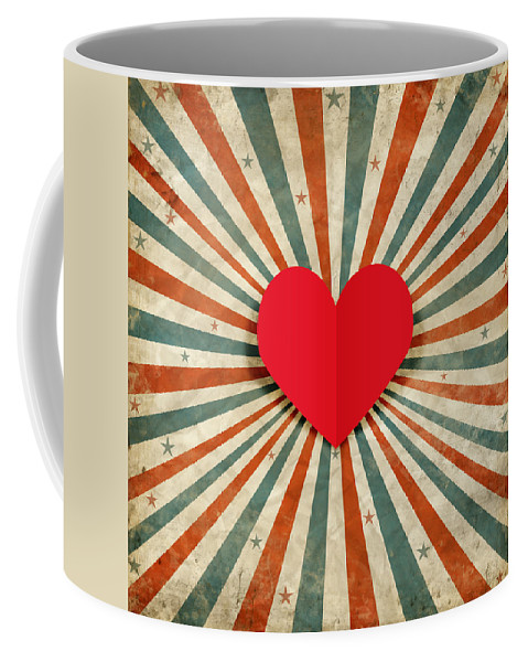 Antique Coffee Mug featuring the photograph Heart With Ray Background by Setsiri Silapasuwanchai