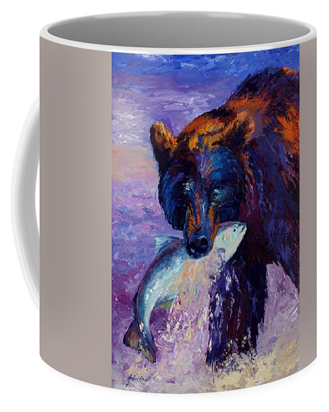 Bear Coffee Mug featuring the painting Heartbeats Of The Wild by Marion Rose