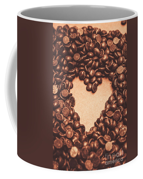 Chocolate Coffee Mug featuring the photograph Hearts And Chocolate Drops. Valentines Background by Jorgo Photography - Wall Art Gallery