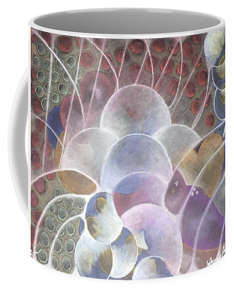Inspiredbyabrahamhicks Coffee Mug featuring the pastel Hearts Bubbling Over by Laurie Cairone