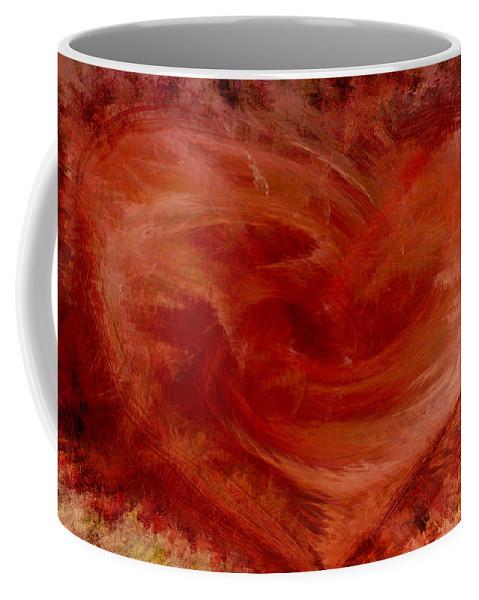Heart Art Coffee Mug featuring the digital art Hearts Of Fire by Linda Sannuti
