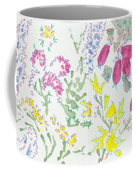 Heather Coffee Mug featuring the painting Heather And Gorse Watercolor Illustration Pattern by Mike Jory