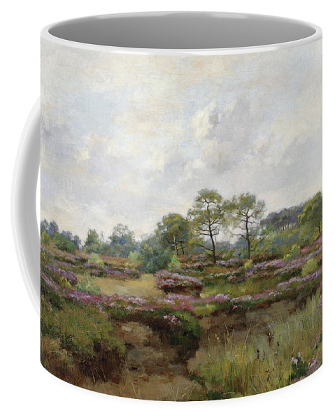 Pierre Emmanuel Eugene Damoye Coffee Mug featuring the painting Heather Landscape by Pierre Emmanuel Eugene Damoye