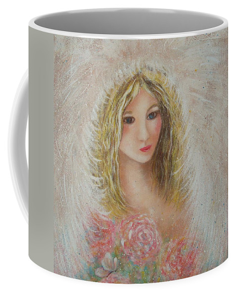 Angel Coffee Mug featuring the painting Heavenly Angel by Natalie Holland