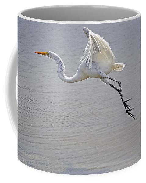 Egret Coffee Mug featuring the photograph Heavy Flight by Kenneth Albin