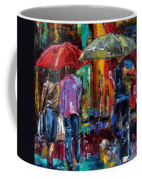Street Scene Coffee Mug featuring the painting Heavy Rain by Debra Hurd