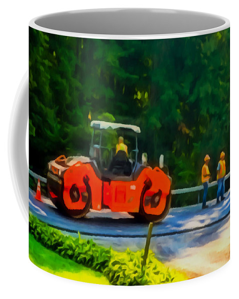 Activity Coffee Mug featuring the painting Heavy Tandem Vibration Roller Compactor At Asphalt Pavement Works For Road Repairing 2 by Jeelan Clark