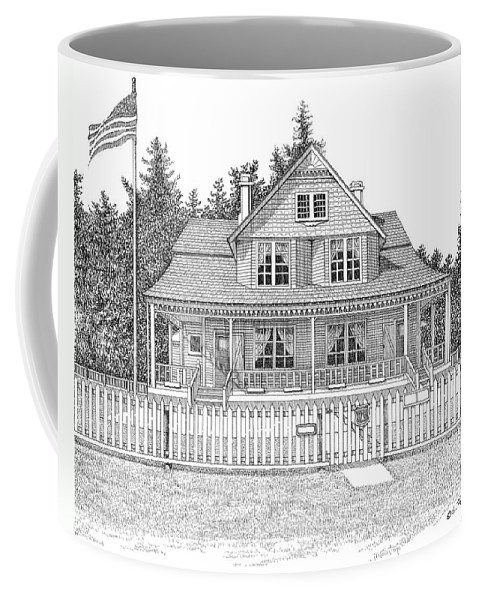 Lighthouse Coffee Mug featuring the drawing Heceta Head Bed And Breakfast by Lawrence Tripoli