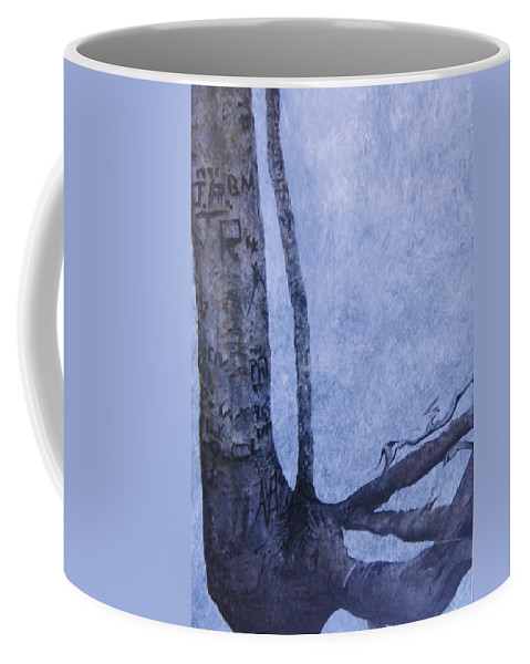 Tree Trunk Coffee Mug featuring the painting Hedden Park II by Leah Tomaino