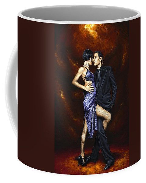 Tango Dancers Love Passion Female Male Woman Man Dance Coffee Mug featuring the painting Held In Tango by Richard Young