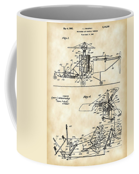 Helicopter Coffee Mug featuring the digital art Helicopter Patent 1940 - Vintage by Stephen Younts